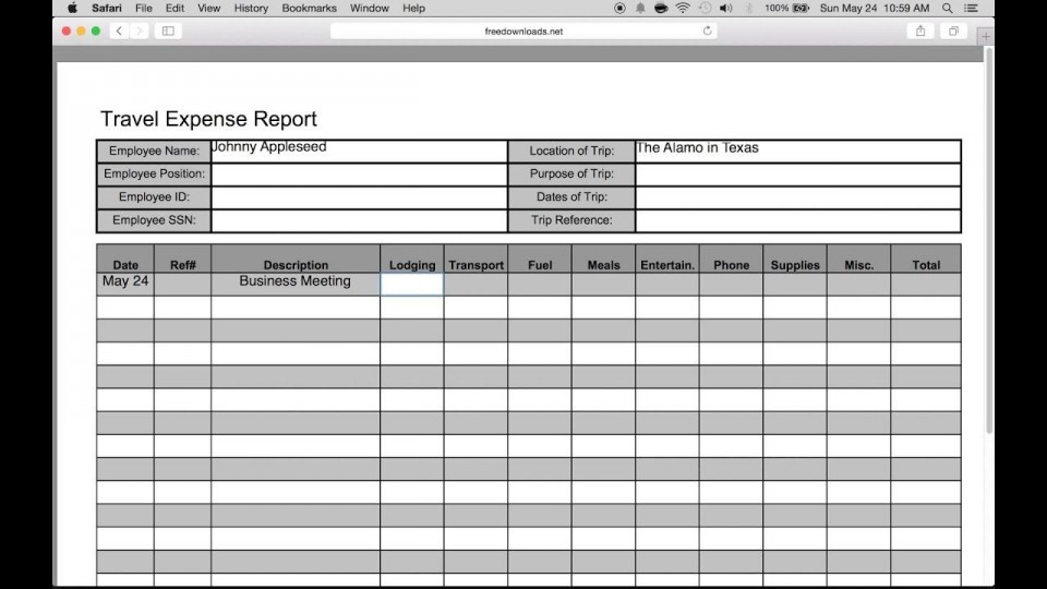 007 Wondrou Travel Expense Report Template Sample  Format Excel Free960