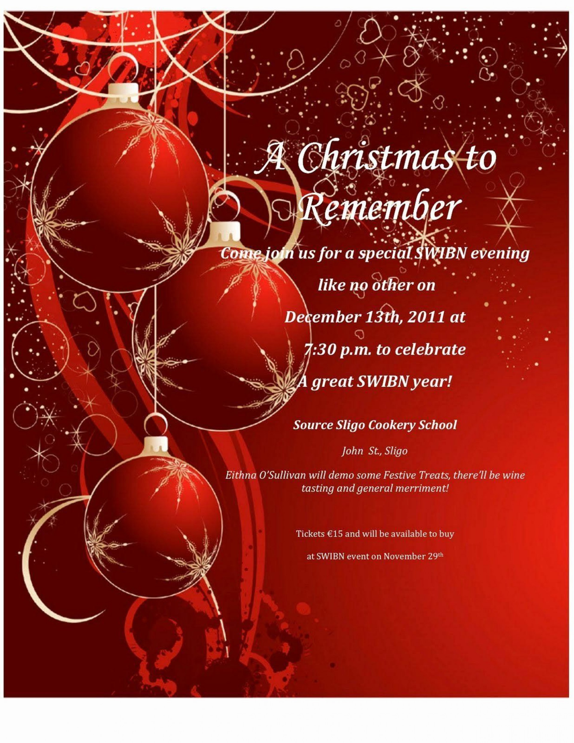 007 Wondrou Xma Party Invite Template Free Inspiration  Holiday Invitation Word Download Christma1920