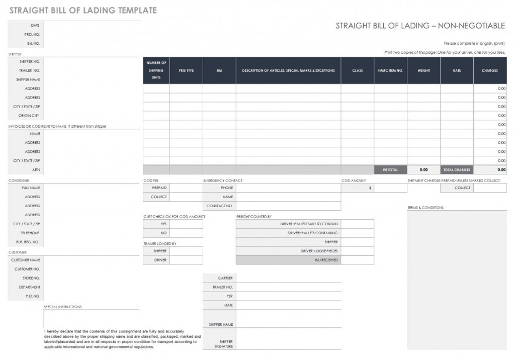 008 Amazing Bill Of Lading Template Excel Idea  Simple House Format InLarge