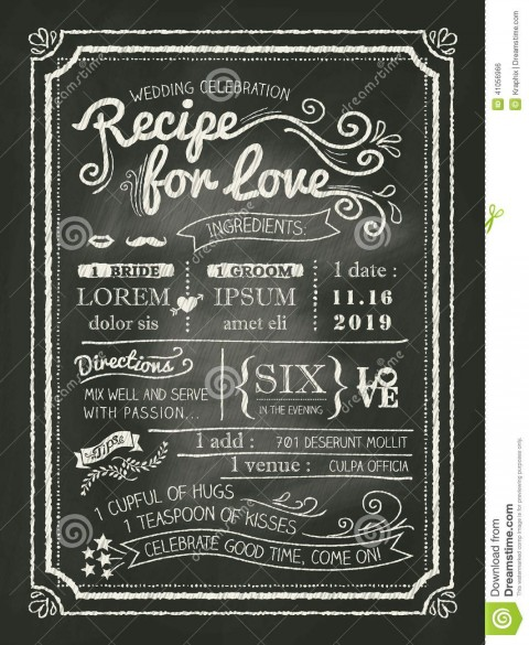 008 Amazing Chalkboard Invitation Template Free Design  Download Wedding480