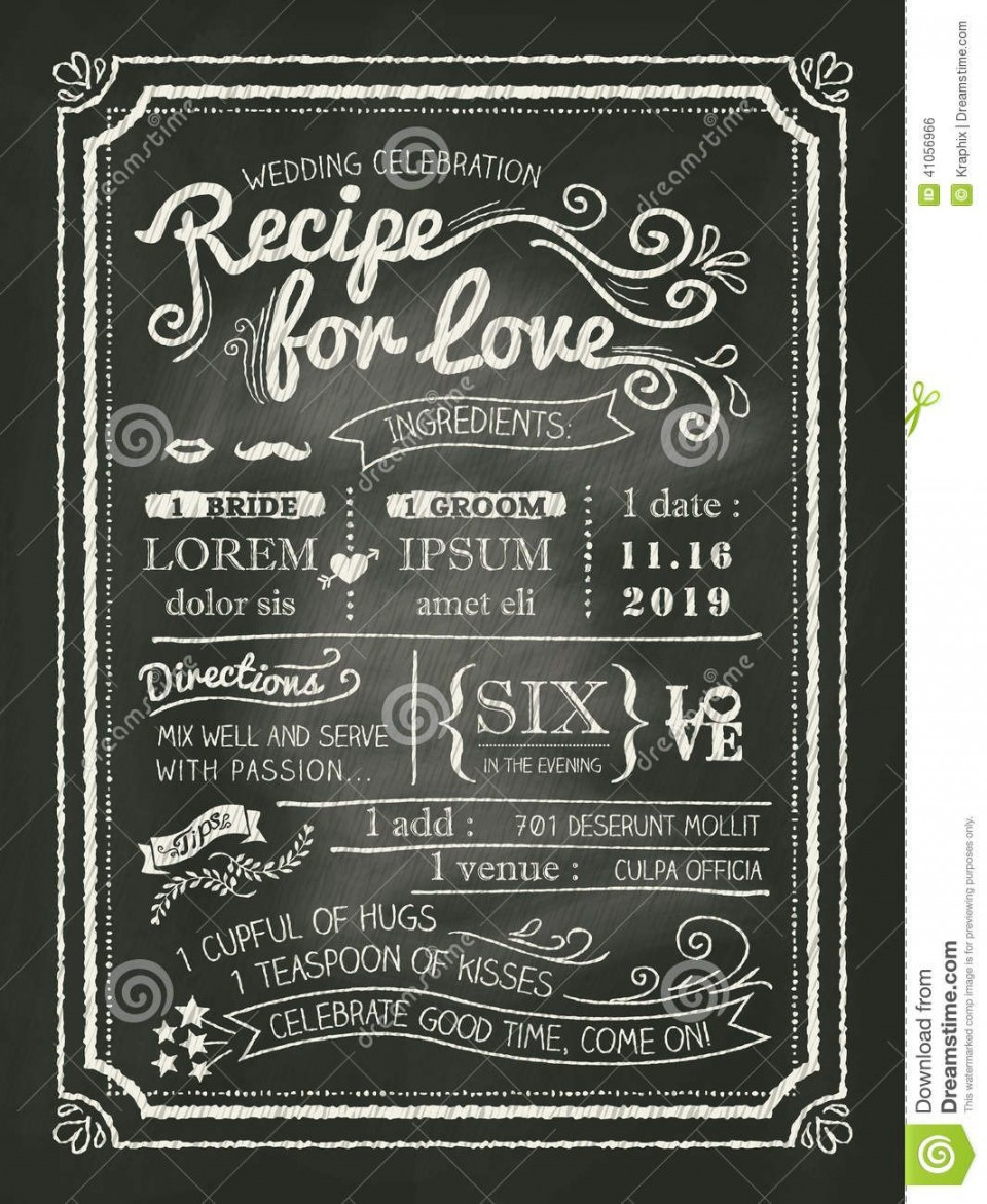 008 Amazing Chalkboard Invitation Template Free Design  Download Wedding960