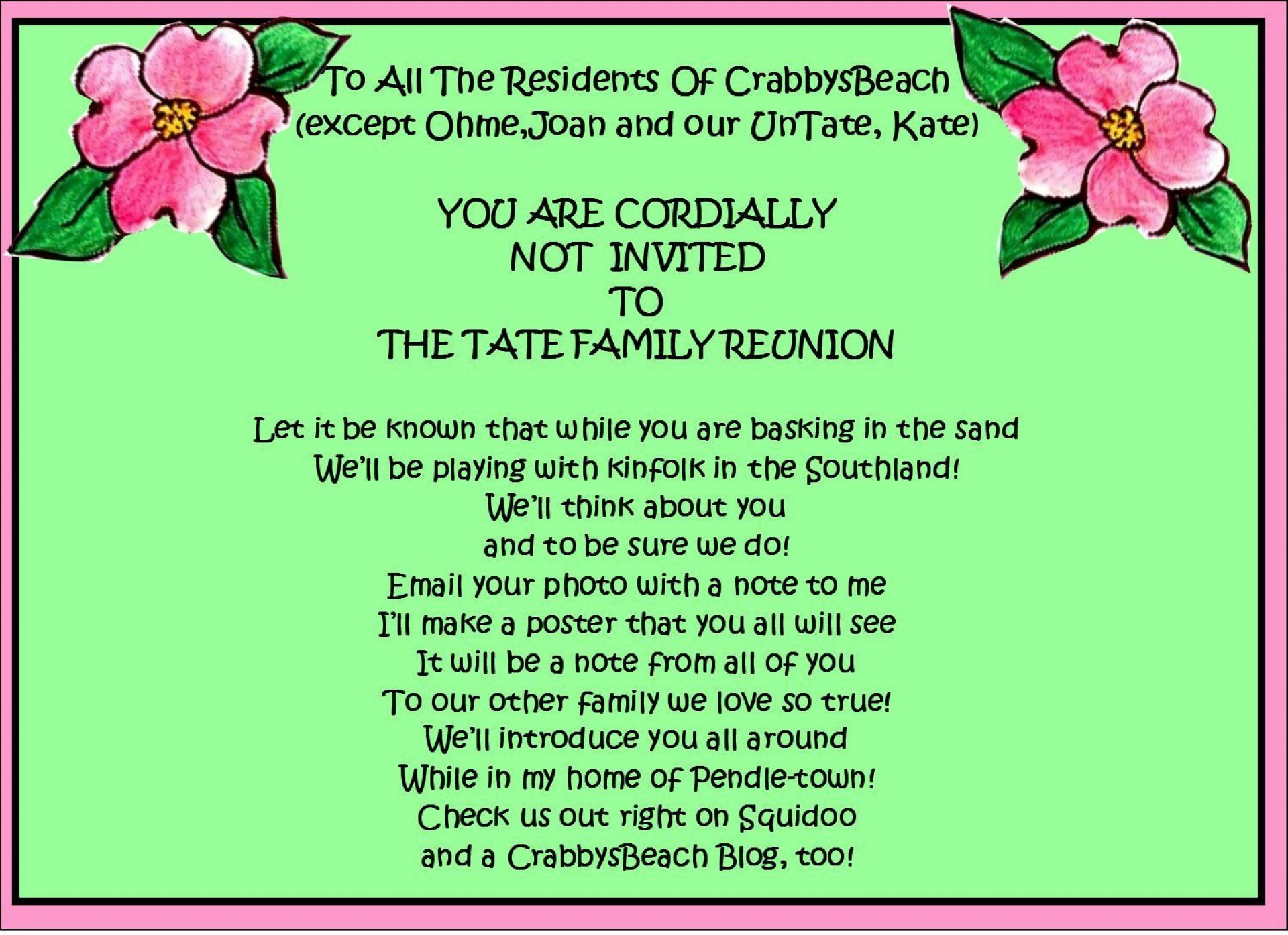 008 Amazing Free Printable Family Reunion Invitation Template Concept  Templates Flyer1920