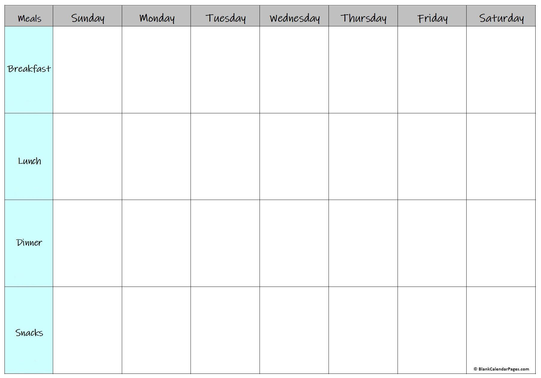008 Amazing Meal Plan Calendar Template High Definition  Excel Weekly 30 DayFull