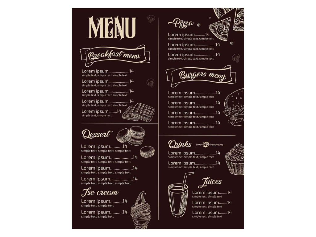 008 Amazing Menu Template Free Download For Restaurant Example  Word PsdLarge
