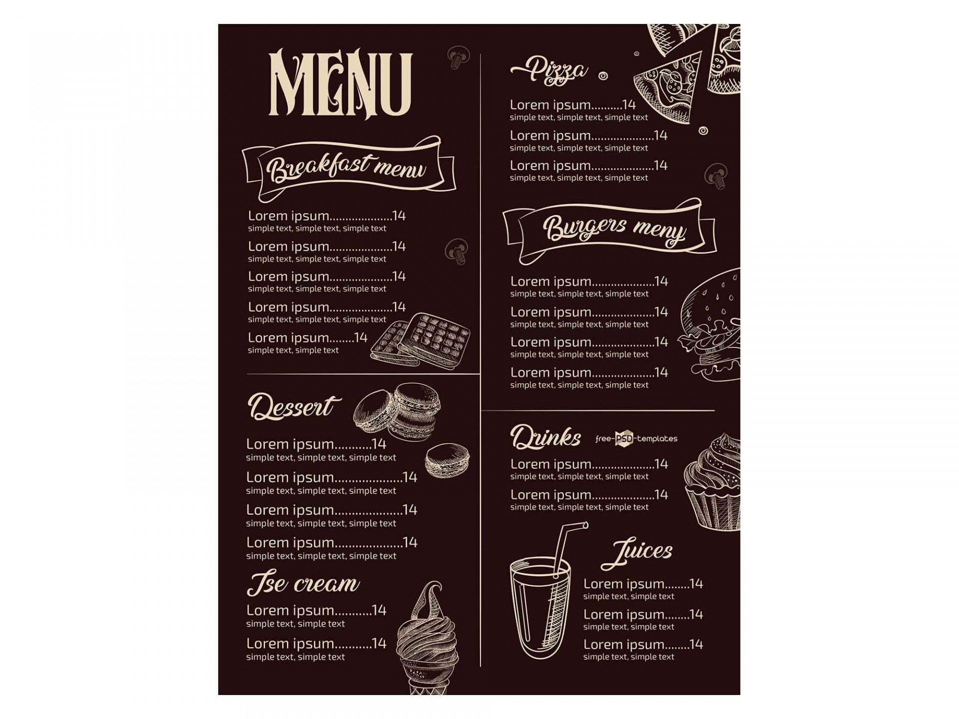 008 Amazing Menu Template Free Download For Restaurant Example  Word Psd1920