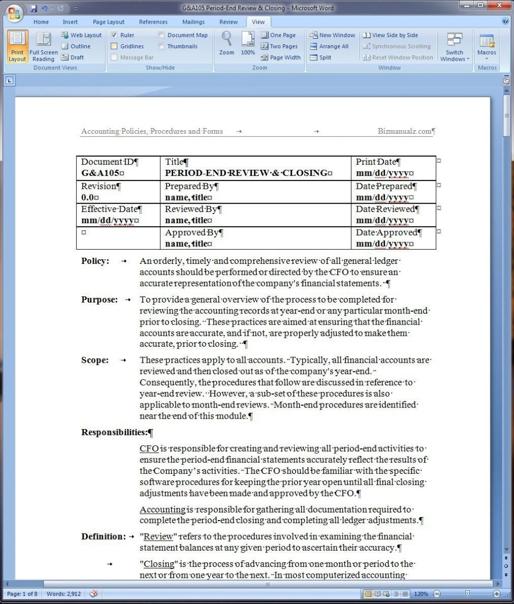 008 Amazing Policy And Procedure Template Example  Free Healthcare WordLarge