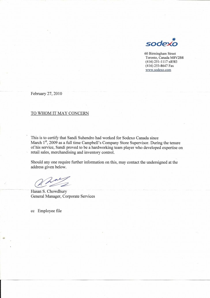 008 Amazing Proof Of Employment Letter Template Canada Picture  Confirmation728