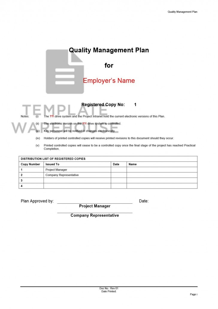 008 Amazing Quality Management Plan Template Design  Sample Pdf Example In Construction Doc728