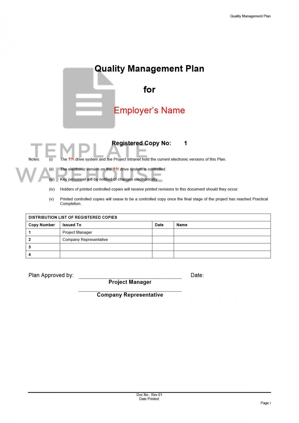 008 Amazing Quality Management Plan Template Design  Sample Pdf Example In Construction Doc960