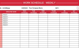 008 Amazing Weekly Work Schedule Template Highest Quality  Monthly Excel Free Download For Multiple Employee Plan