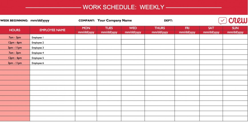 Weekly Work Schedule Template Addictionary