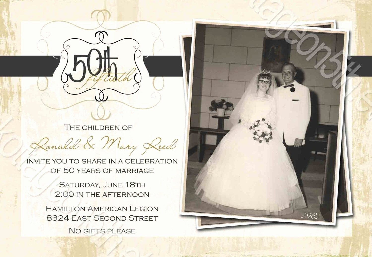 008 Archaicawful 50th Wedding Anniversary Invitation Template High Definition  Templates Golden Uk Free DownloadFull
