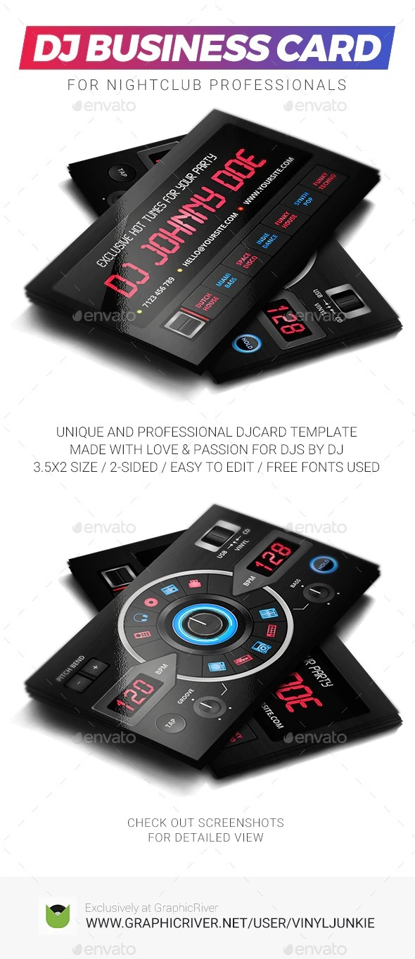 008 Archaicawful Dj Busines Card Template Example  Psd Free DownloadFull