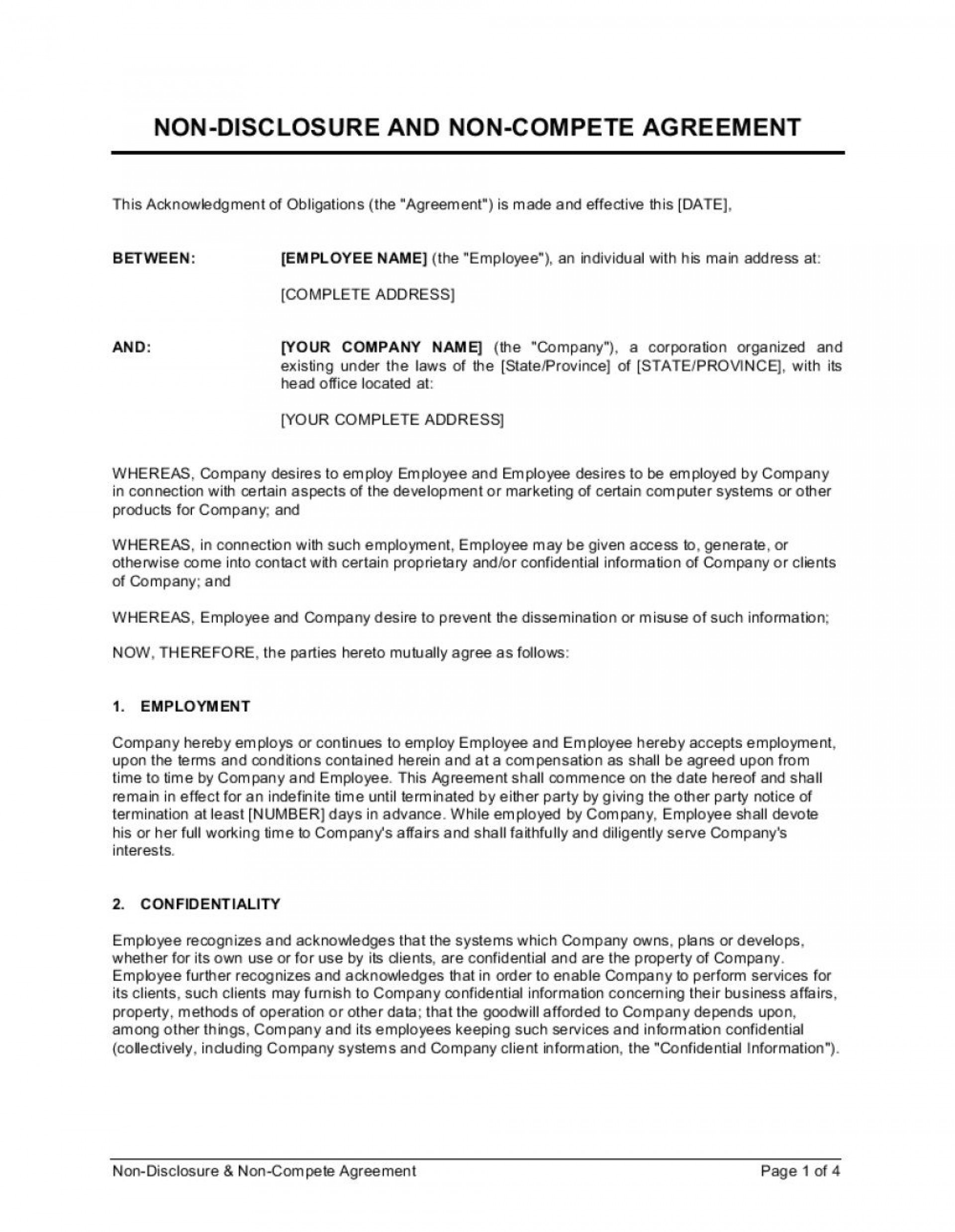 008 Archaicawful Employee Non Compete Agreement Template Example  Free Confidentiality Non-compete Disclosure1920