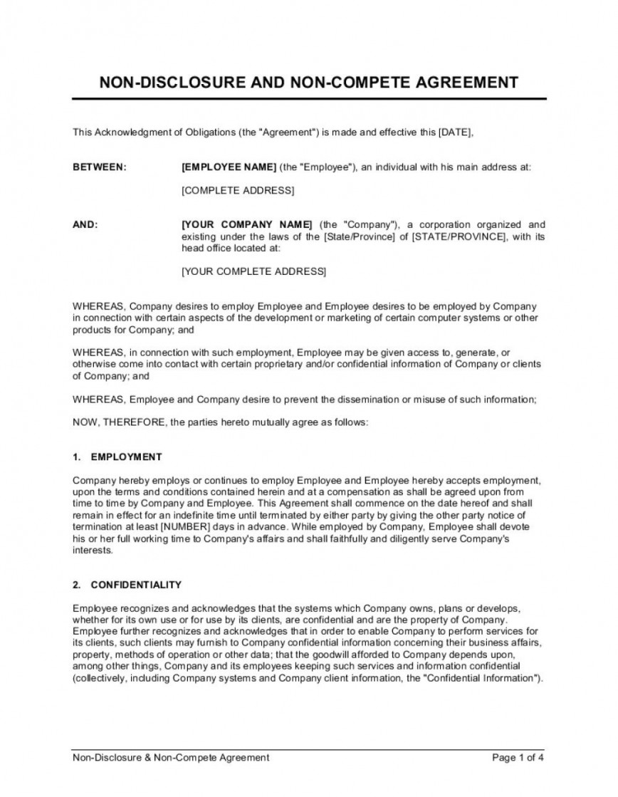008 Archaicawful Employee Non Compete Agreement Template Example  Free Confidentiality Non-compete Disclosure868