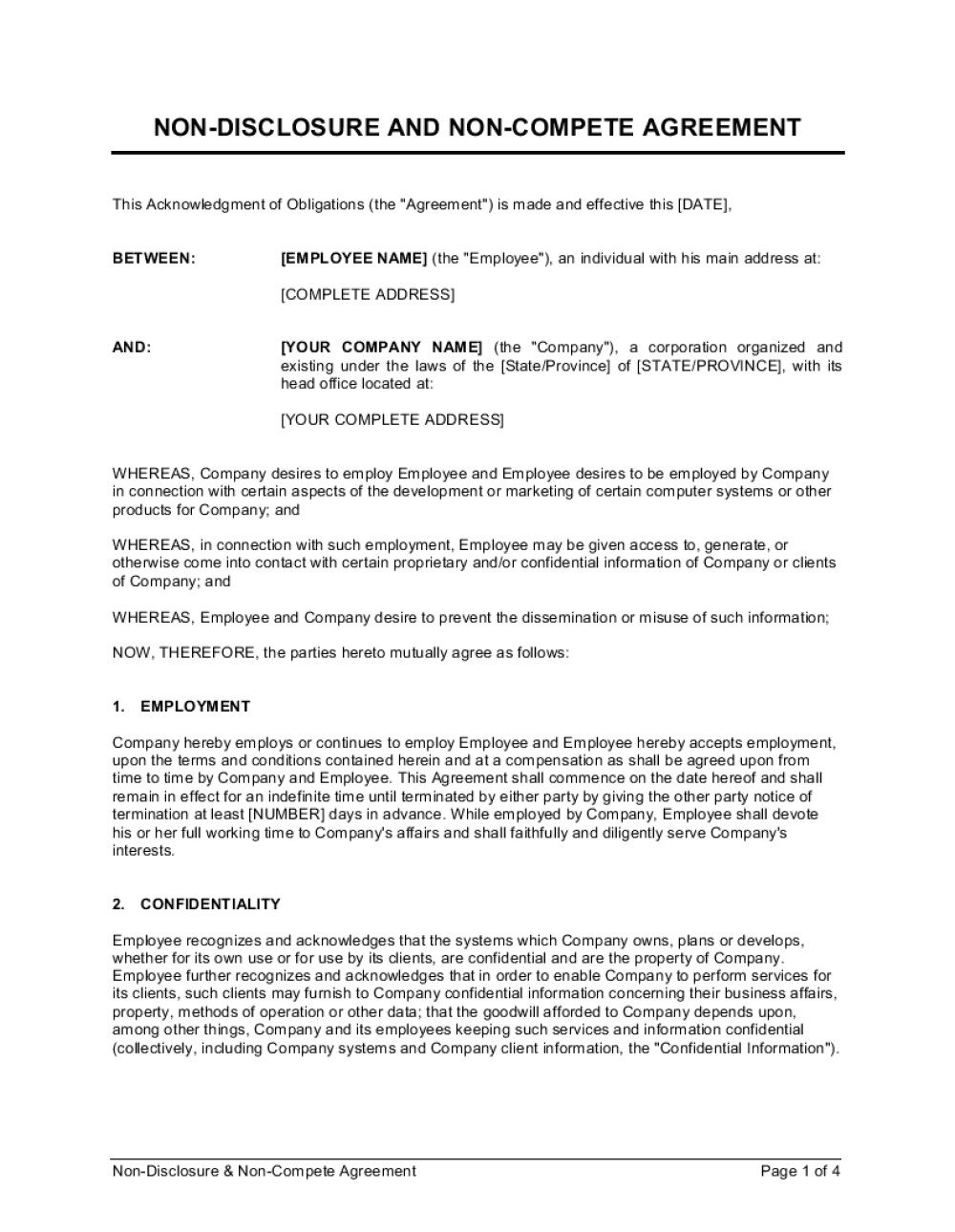 008 Archaicawful Employee Non Compete Agreement Template Example  Free Confidentiality Non-compete DisclosureFull