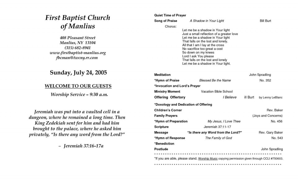 008 Archaicawful Free Church Program Template Word Highest Quality  Bulletin For960