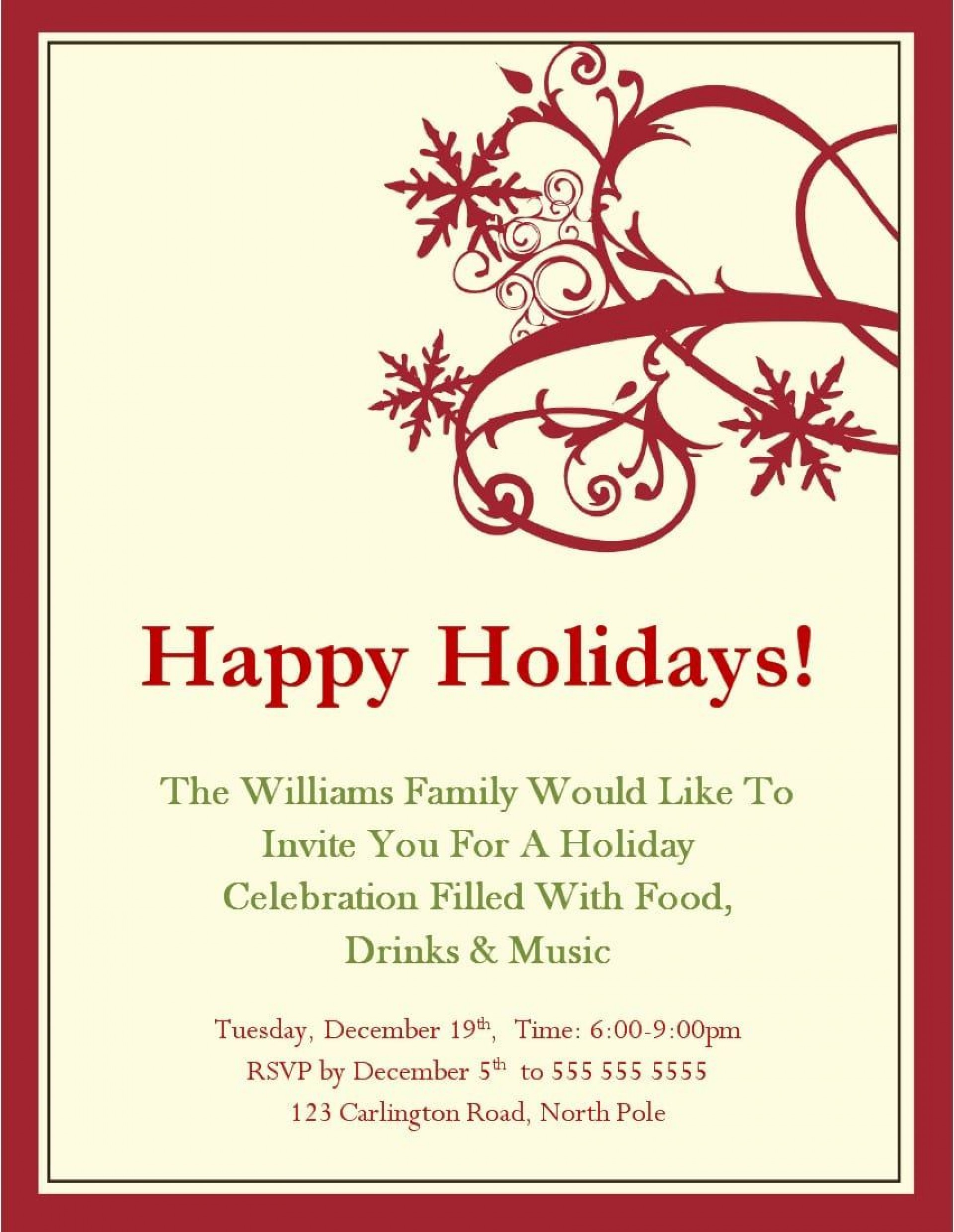 008 Archaicawful Free Email Holiday Party Invitation Template Inspiration  Templates Christma1920