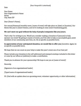 008 Archaicawful Fund Raising Letter Template Idea  Fundraising For Mission Trip School Sample Of A Nonprofit Organization320