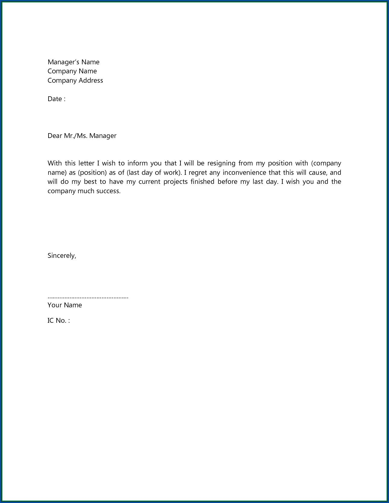 Job Resignation Letter Template from www.addictionary.org
