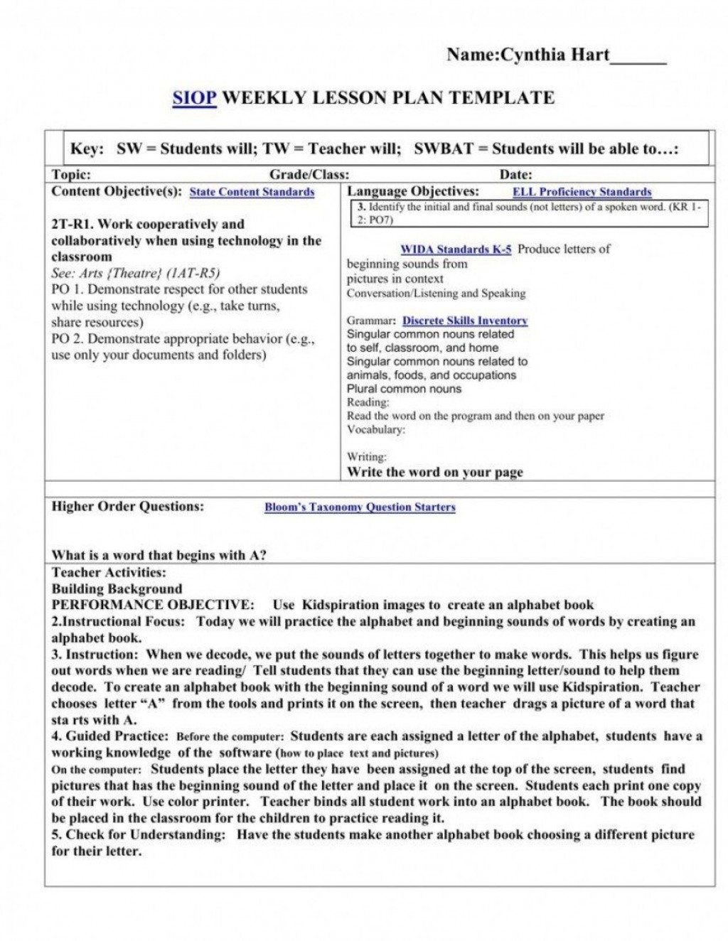 008 Archaicawful Siop Lesson Plan Example First Grade High Resolution  1stLarge