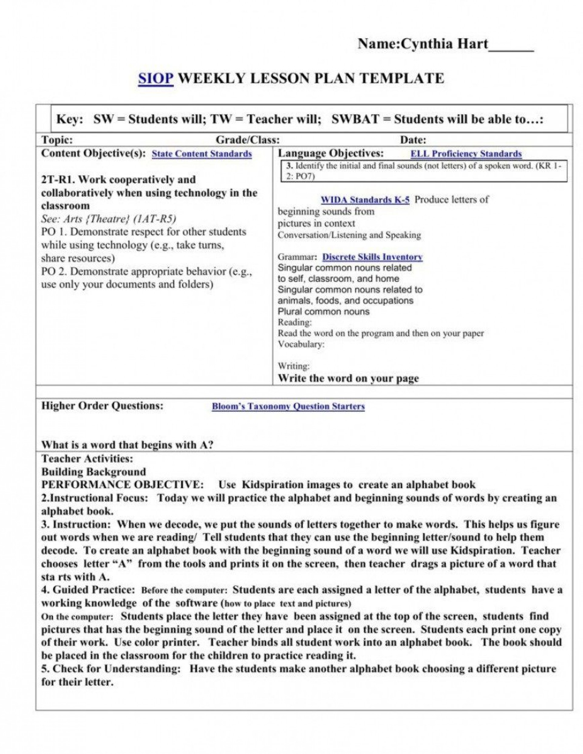008 Archaicawful Siop Lesson Plan Example First Grade High Resolution  1st1920