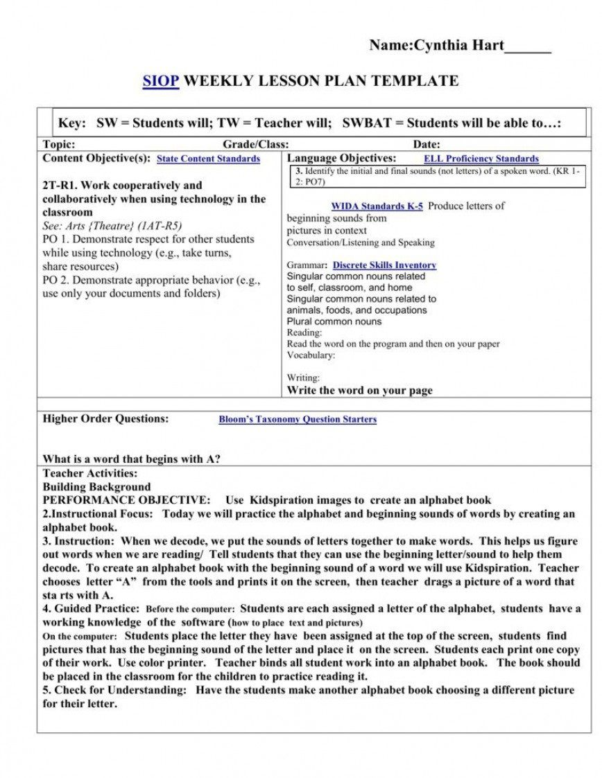 008 Archaicawful Siop Lesson Plan Example First Grade High Resolution  1stFull