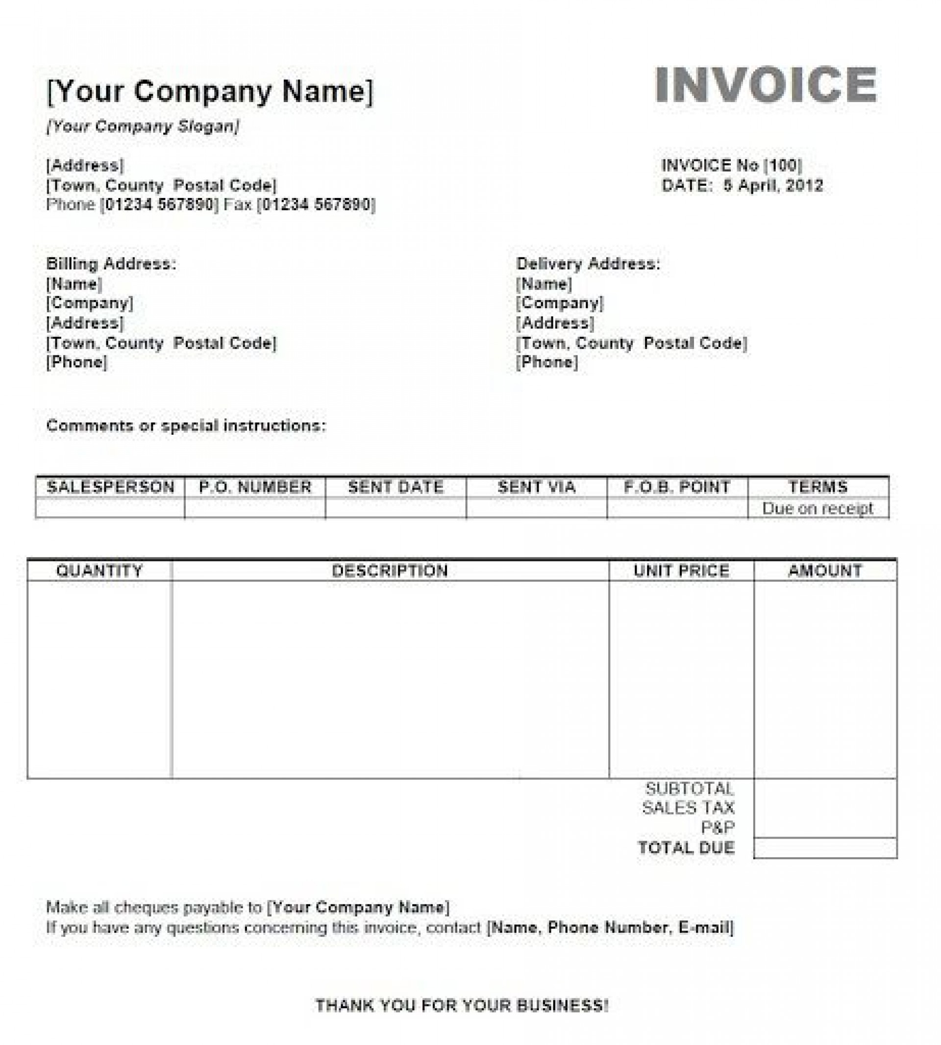 008 Astounding Basic Invoice Template Mac Free Download Sample  Excel For1920