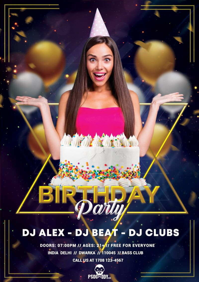 008 Astounding Birthday Flyer Template Psd Free Download High Resolution Full