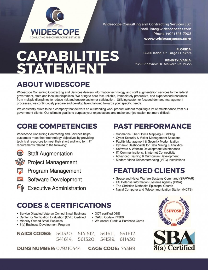 008 Astounding Capability Statement Template Word Doc Photo  Document Free