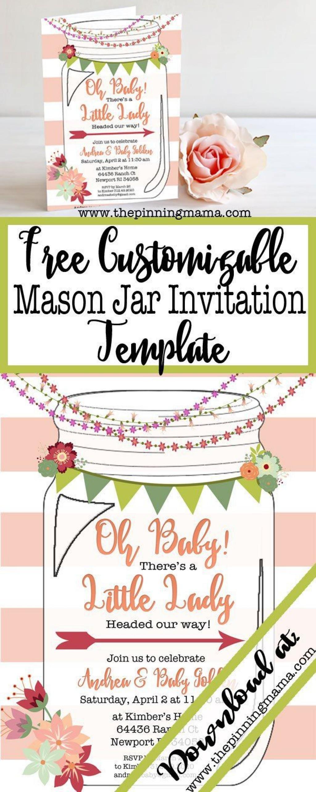 008 Astounding Mason Jar Invitation Template Example  Free Wedding Shower RusticLarge