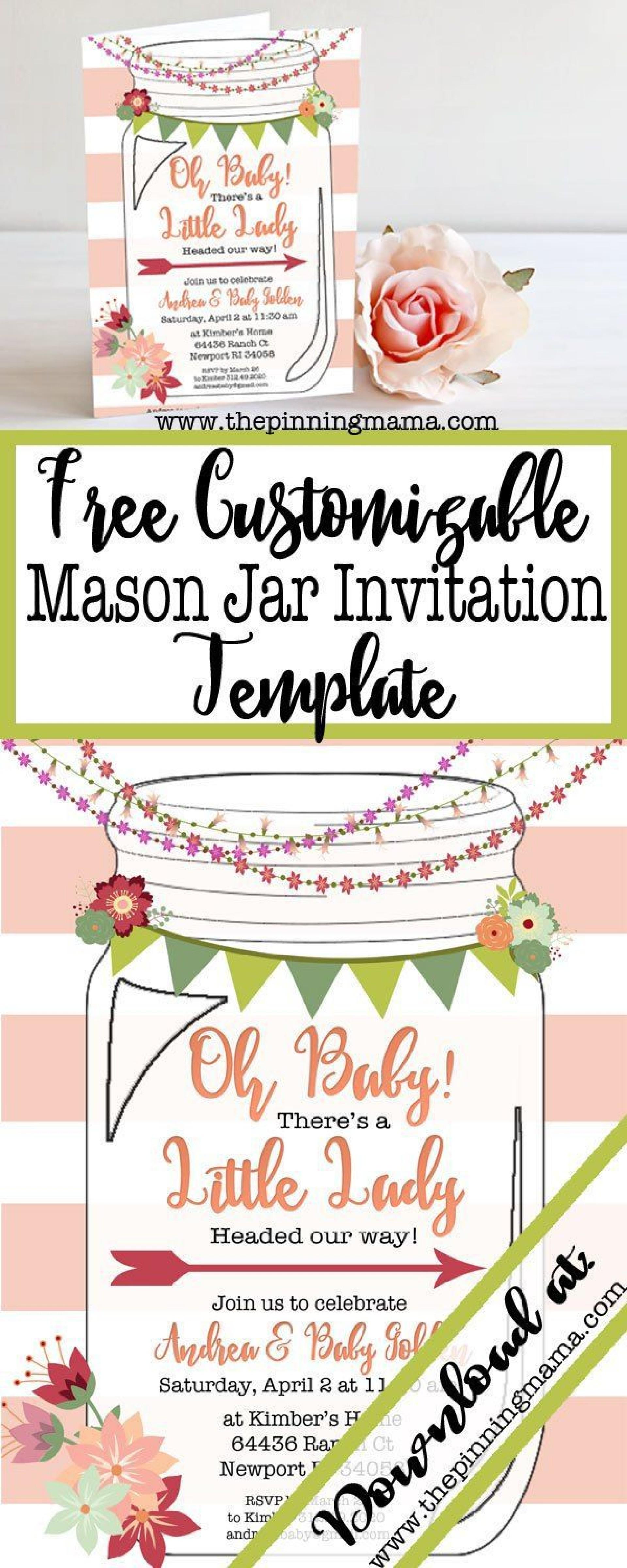 008 Astounding Mason Jar Invitation Template Example  Free Wedding Shower Rustic1920