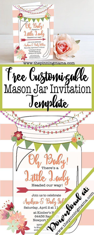 008 Astounding Mason Jar Invitation Template Example  Free Wedding Shower RusticFull