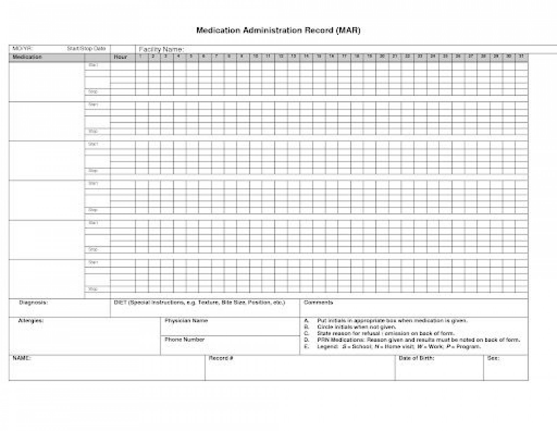 008 Astounding Medication Administration Record Template Example  Download For Home Use1920