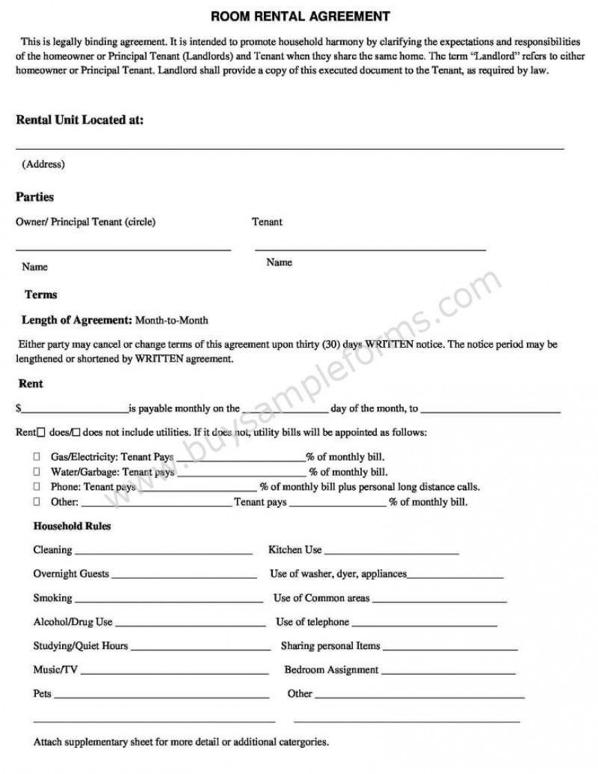 Room Rental Agreement Template Word Addictionary