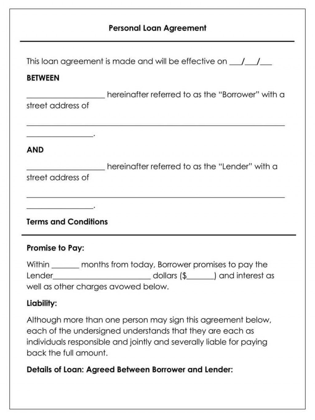 008 Astounding Simple Loan Agreement Template Word Picture  Format Personal MicrosoftLarge