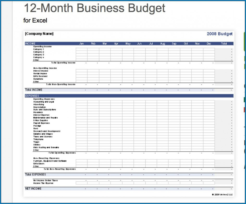 008 Astounding Small Busines Budget Template Excel Inspiration  Monthly FreeLarge