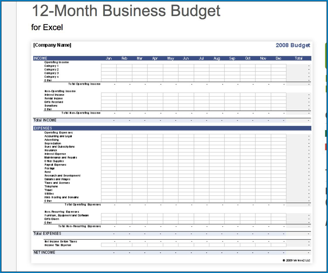 008 Astounding Small Busines Budget Template Excel Inspiration  Monthly FreeFull