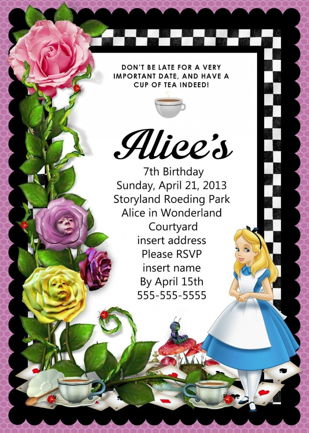 008 Awesome Alice In Wonderland Birthday Party Invitation Printable Free Highest Clarity Large