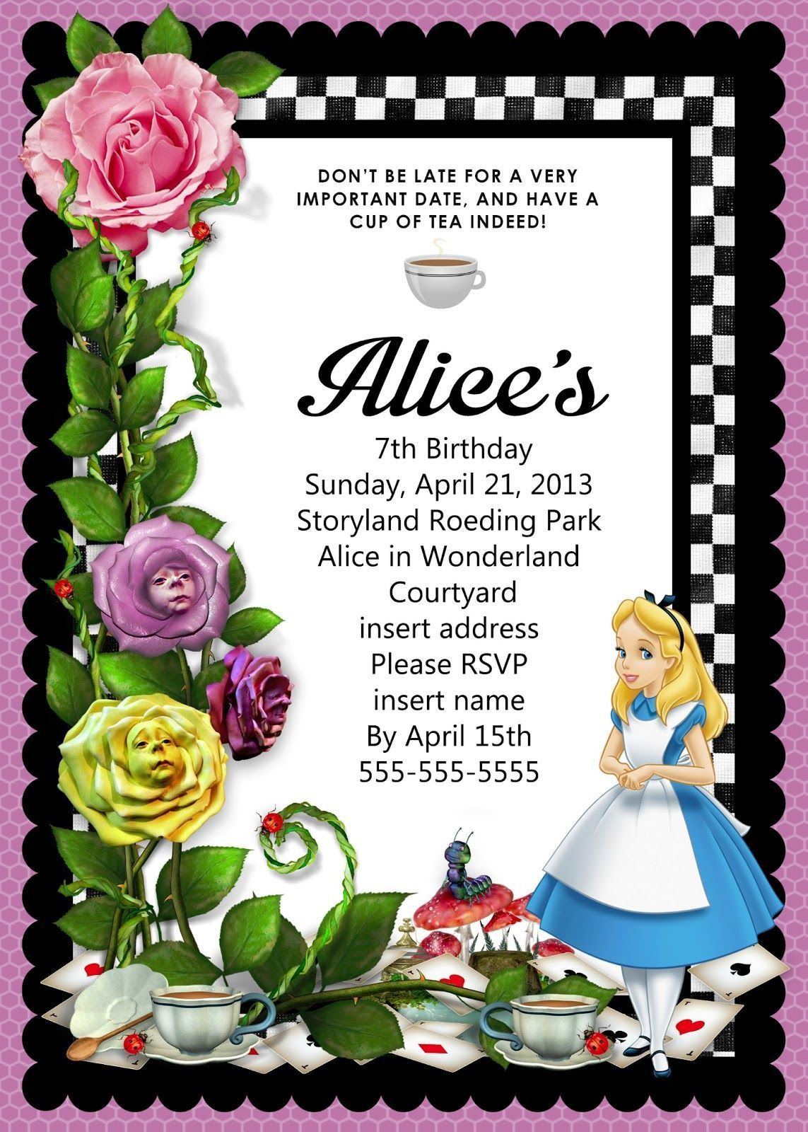008 Awesome Alice In Wonderland Birthday Party Invitation Printable Free Highest Clarity Full
