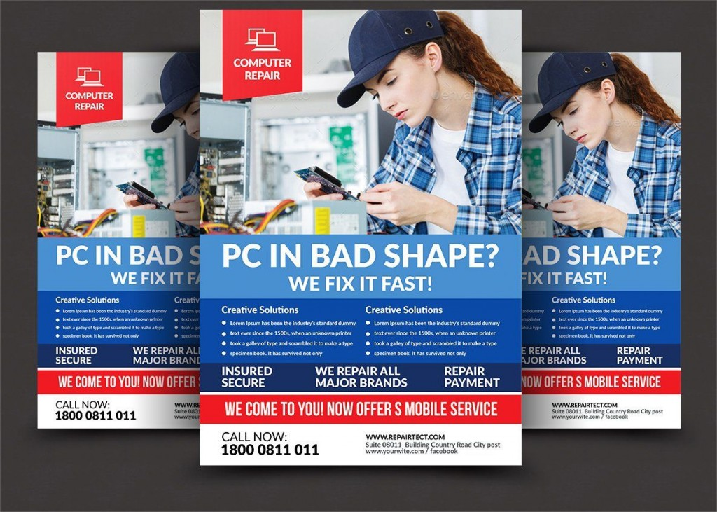 008 Awesome Computer Repair Flyer Template Picture  Word Busines FreeLarge