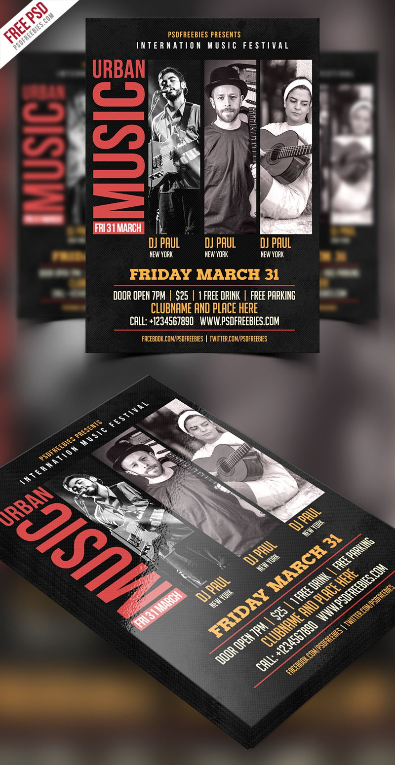 008 Awesome Event Flyer Template Free Psd High Resolution  Music BoxingFull