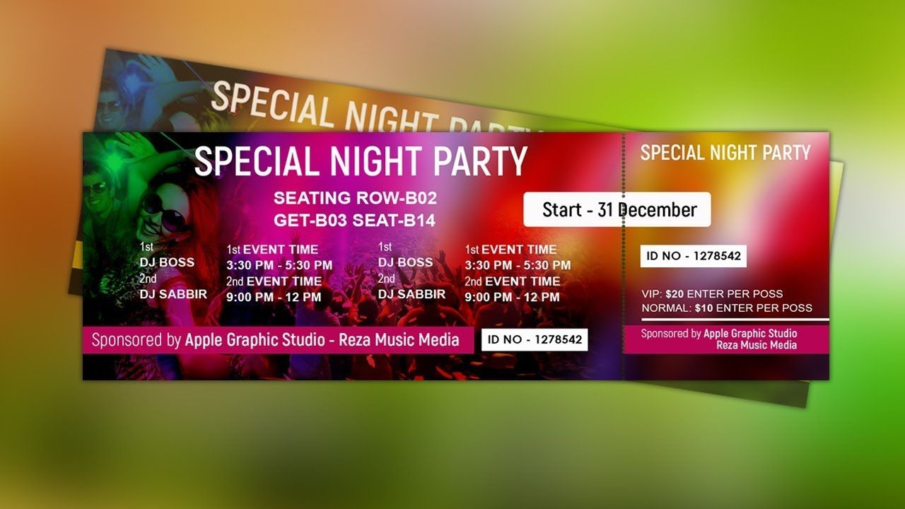 008 Awesome Event Ticket Template Photoshop Image  Design Psd Free DownloadFull