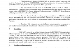 008 Awesome Exclusive Distribution Agreement Template Free Download Example