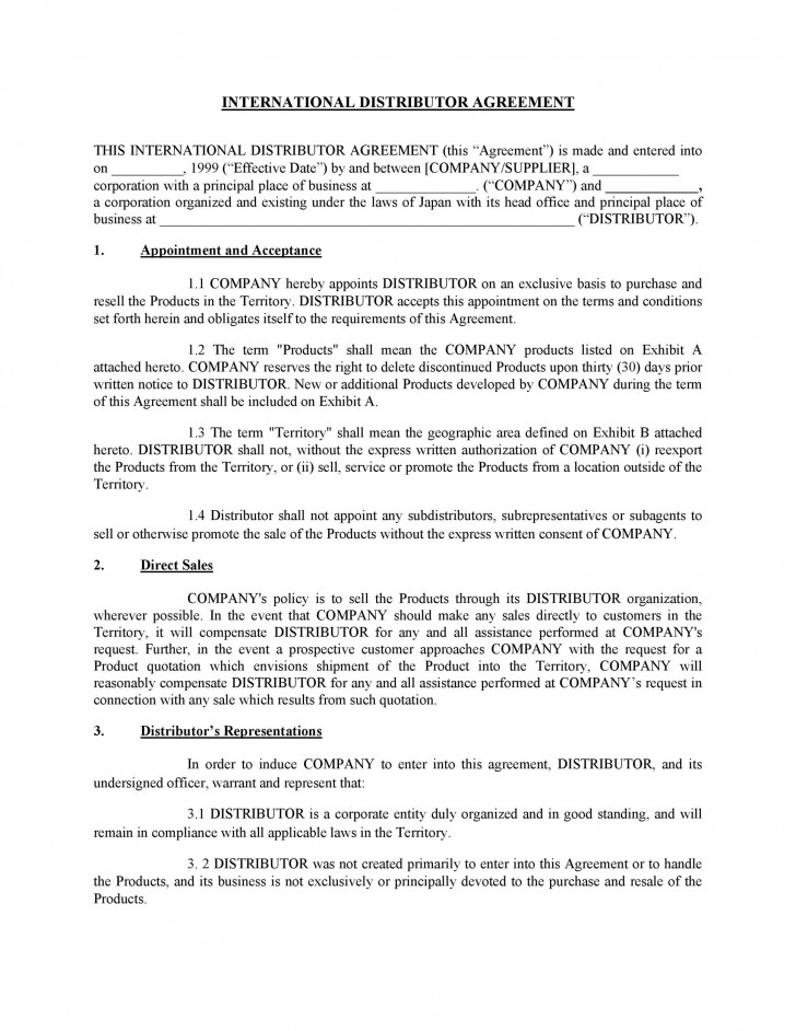 008 Awesome Exclusive Distribution Agreement Template Free Download Example 728