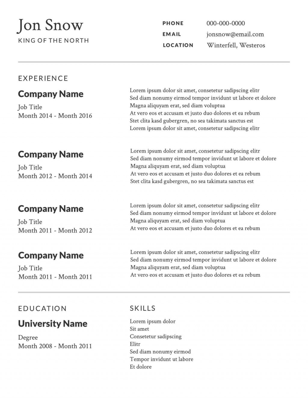008 Awesome Free Basic Resume Template Highest Clarity  Templates Online Microsoft WordLarge
