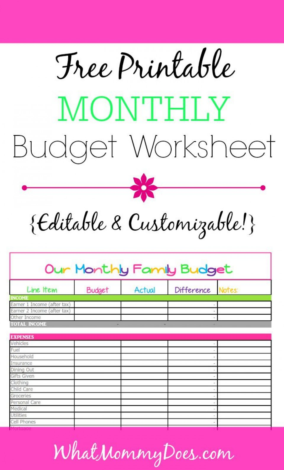 008 Awesome Free Printable Home Budget Template Photo  Form960