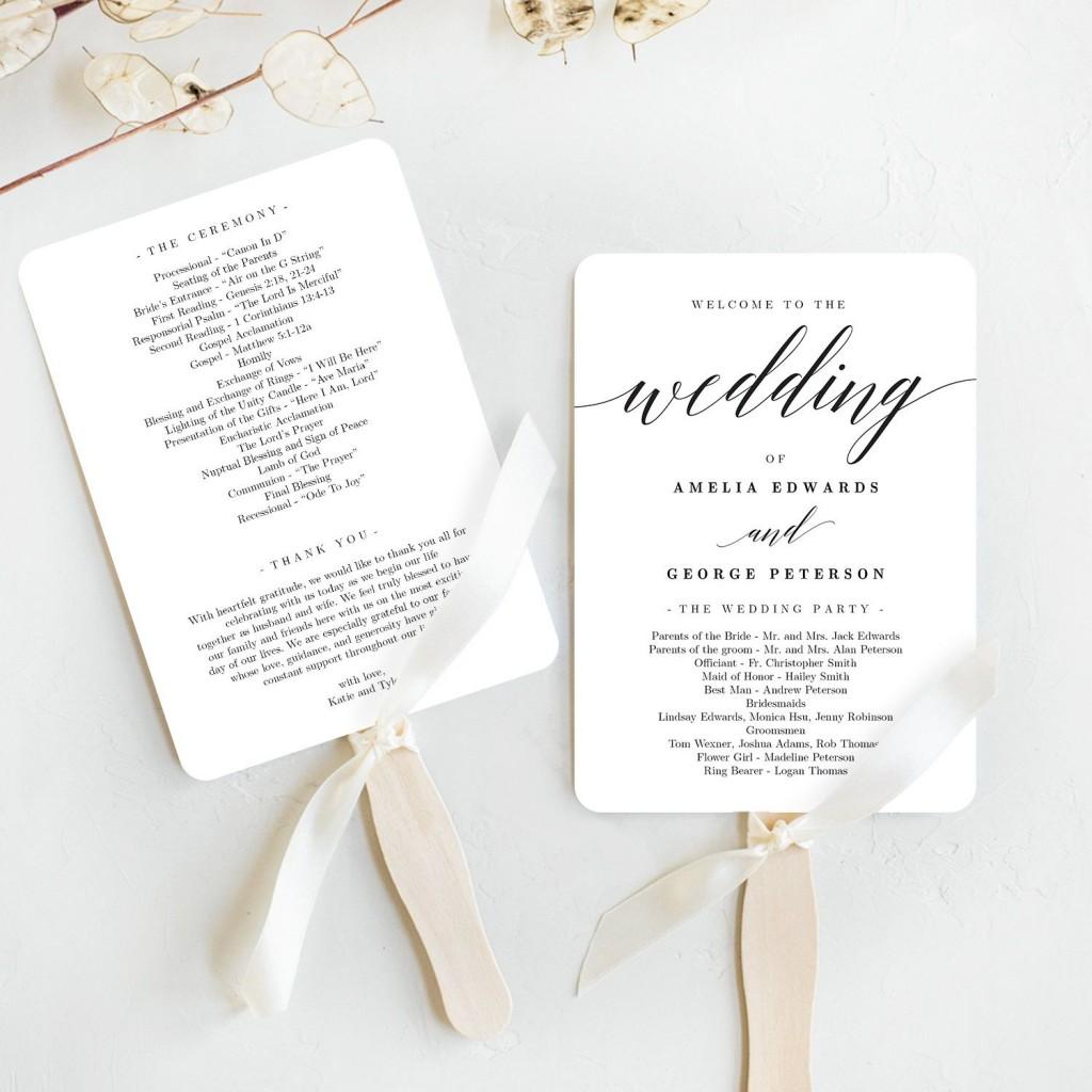 008 Awesome Free Wedding Program Fan Template Photo  Templates Printable Paddle WordLarge