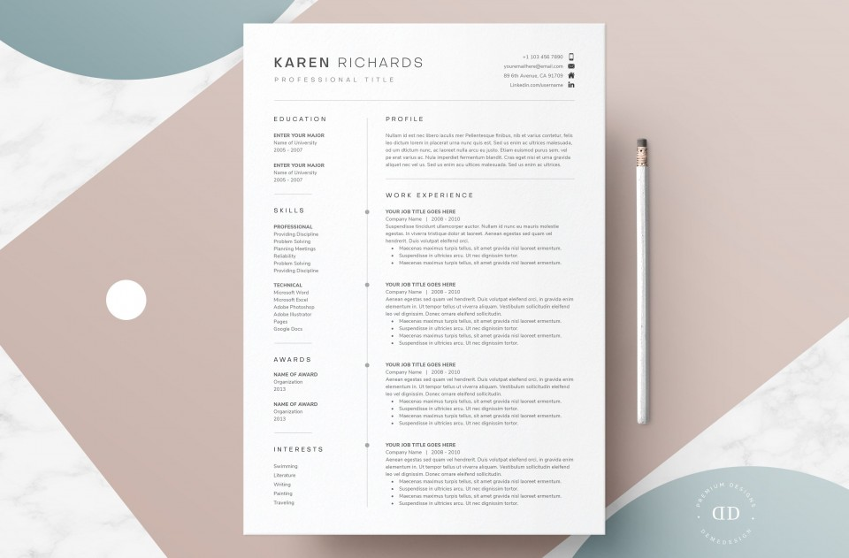 008 Awesome One Page Resume Template Picture  Word Free For Fresher Ppt Download Html960