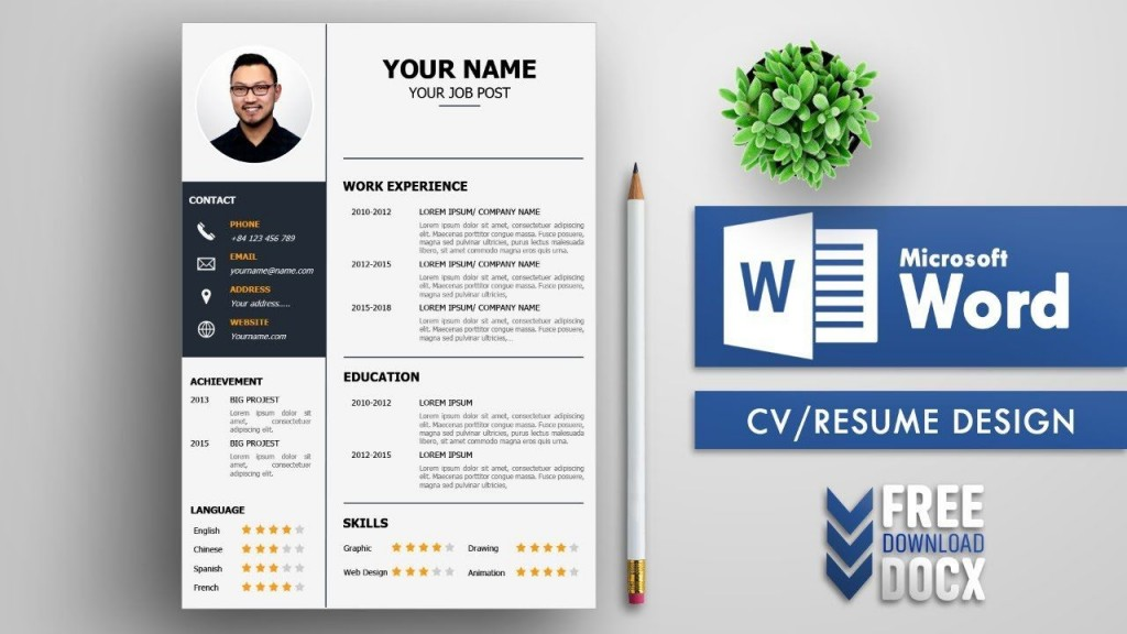 008 Awesome Resume Template Free Word Download Picture  Cv With Photo Malaysia AustraliaLarge